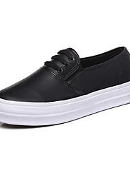 נשים-נעליים ללא שרוכים-דמוי עור-נוחות-שחור / לבן-קז'ואל-עקב שטוח