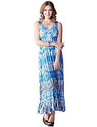 Feminino Solto Vestido,Casual Simples Estampado Decote V Longo Sem Manga Azul Poliéster / Elastano Verão Cintura Alta Micro-Elástica Fina