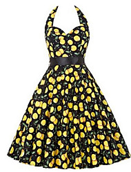 Women's Formal / Party Sexy / Sophisticated Skater DressFloral Halter Above Knee Sleeveless Red / Yellow