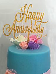 קישוטים לעוגה לא מותאם אישית חתימה אקרילי יום שנה פרחים זהב נושא קלאסי 1 OPP