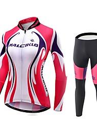 MALCIKLO® חולצה וטייץ לרכיבה לנשים שרוול ארוך אופנייםנושם / ייבוש מהיר / רוכסן קדמי / לביש / חדירות גבוהה לאוויר (מעל 15,000 גרם) / בד קל