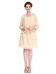 2017 lanting bride® une ligne mère de la robe de mariée longueur genou 3/4 manches en mousseline de soie avec le gland (s)