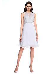 2017 lanting bride® diz boyu şifon / dantel zarif nedime elbisesi - boncuk ile hat mücevher