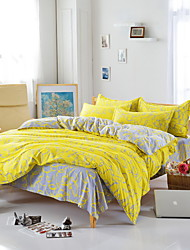 bedtoppings שמיכת פוך שמיכת מכסת 4pcs להגדיר דפוס אפור צהוב ציפית גיליון שטוחה בגודל קווין מדפיס מיקרופייבר
