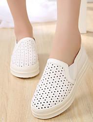 נשים-נעליים ללא שרוכים-עור-נוחות-שחור / לבן-קז'ואל-עקב שטוח