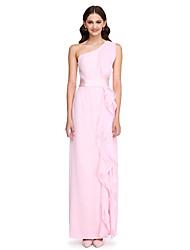 2017 לנטינג שיפון באורך הרצפה bride® שמלת השושבינה אלגנטי - נדן / עמודה אחת כתף עם קפלים / אבנט / סרט