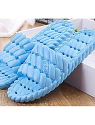 Feminino-Chinelos e flip-flops-Chanel-Rasteiro-Azul / Verde / Roxo / Coral-Borracha-Casual