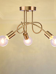 3 heads Copper Multiple rod Ceiling Dome lamp Creative Personality Retro Living Room Dining Room Ceiling light