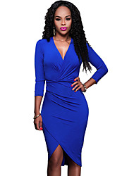 Women's Casual/Daily Sexy / Simple Ruched Irregular Bodycon DressSolid Deep V Asymmetrical Long Sleeve
