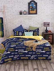 bedtoppings comforter edredão 4pcs colcha definir queen size folha plana fronha palavras azuis imprime microfibra