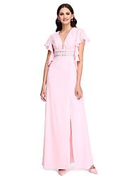 2017 לנטינג furcal שיפון באורך הרצפה bride® / שמלת השושבינה בחזרה יפה - צווארון V עם חרוזים