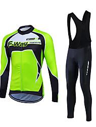 Fastcute® חולצת ג'רסי וטייץ ביב לרכיבה לגברים שרוול ארוך אופניים שמור על חום הגוף עמיד מדים בסטים גיזות קלאסי חורףרכיבה על