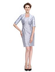 2017 לנטינג אמא נדן / טור bride® של תחרת שרוול חצי אורך ברך שמלת כלה / טפטה
