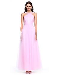 2017 Lanting bride® kotník-délka tyl elegantní družička šaty - a-linka pásky s bočními zakrývacího / criss kříže