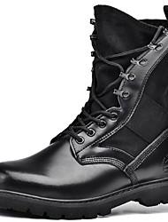 יוניסקס-מגפיים-עור נאפה Leather-מגפי צבא-שחור-שטח / קז'ואל-עקב עבה