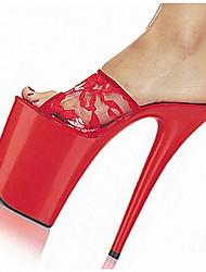 Feminino-Sandálias-Plataforma Sapatos clube Light Up Shoes-Salto Agulha Plataforma-Preto Vermelho Branco Colorido-PVC-Social Casual