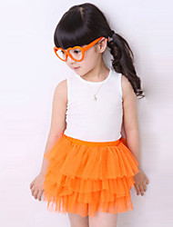 Girl's Casual/Daily Solid SkirtPolyester Summer Black / Blue / Green / Orange / Pink / Red / White / Yellow