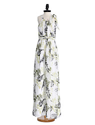 2017 Lanting Bride® Floor-length Chiffon Junior Bridesmaid Dress Sheath / Column Jewel with Criss Cross