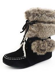 נשים-מגפיים-עור פטנט דמוי עור-פלטפורמה מגפי שלג מגפי רכיבה מגפי אופנה נוחות חדשני מגפיי בוקרים\מערב פרוע-שחור חום צהוב-חתונה שטח משרד