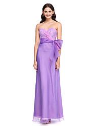 2017 לנטינג bride® שמלת השושבינה באורך רצפת תחרה / אורגנזה אלגנטית - מתוק עם קשת (ים)