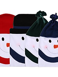 1pcs snowman deksel schattige patroon stoel geen geweven kerstdiner partij stoel dekt set kerst decoratie benodigdheden