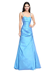 2017 Lanting Bride® Floor-length Taffeta Beautiful Back Bridesmaid Dress - A-line Spaghetti Straps with Side Draping