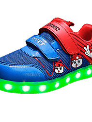 לבנות-נעלי ספורט-PU-נוחות-כחול ורוד אדום-יומיומי-עקב שטוח