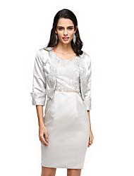 2017 bride® אמא לנטינג של נדן שמלת כלה / סקופ טור באורך הברך סאטן עם חרוזים / תחרה