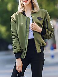 אחיד עומד חמוד ליציאה ז'קט נשים,ירוק שרוול ארוך סתיו בינוני (מדיום) פוליאסטר