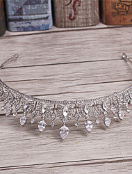 Vrouwen Bergkristal Licht Metaal Imitatie Parel Helm-Bruiloft Speciale gelegenheden Informeel Tiara's 1 Stuk