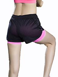 calças de yoga Shorts / Fundos Respirável / Secagem Rápida / Compressão / Confortável Caído Elasticidade Alta Wear Sports Preto Mulheres