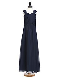 2017 Lanting bride® podlahy Délka šifónové junior družička šaty a-řádek popruhy s criss cross / ruching