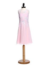 2017 Lanting bride® kolena šifon / krajka junior družička šaty plášť / sloupec šperk s appliqués / obruby