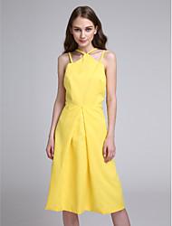 2017 Lanting bride® kolena šifon elegantní družička šaty - a-linie špagetová ramínka s záhybů