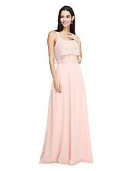 2017 Lanting bride® podłogi długość szyfonowa elegancka sukienka druhna - spaghetti pasy z kokardą (e)