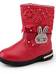 Boty-PU-Pohodlné-Dívčí-Černá Růžová Červená-Běžné-Plochá podrážka