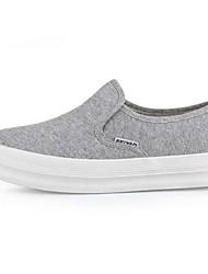 נשים-נעליים ללא שרוכים-קנבס-נוחות-שחור / כחול / לבן / אפור-קז'ואל-עקב שטוח