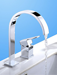 Contemporary / Modern Widespread Waterfall with  Ceramic Valve Single Handle Two Holes for  Chrome , Bathroom Sink Faucet