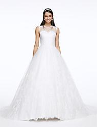 Lanting Bride® A-line Wedding Dress Court Train Jewel Lace / Tulle with Appliques / Button / Lace