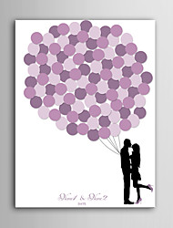 E-HOME Personalized Signature Canvas invisible Frame Print - Pink Balloon Couple
