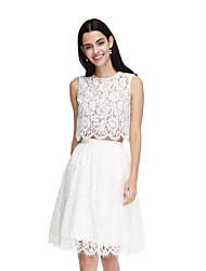 2017 לנטינג bride® תחרה באורך הברך שמלת השושבינה אלגנטי - תכשיט א-קו עם אבנט