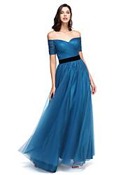 TS Couture® Evento Formal Vestido - Elegante Linha A Ombro a Ombro Longo Tule com Faixa / Fita / Cruzado / Franzido