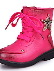 לבנות-מגפיים-דמוי עור-נוחות-שחור אדום-שמלה יומיומי-עקב שטוח