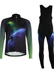 Esportivo Camisa com Calça Bretelle Homens Manga Comprida MotoRespirável / Mantenha Quente / Vestível / Tapete 3D / Tecido Ultra Leve /