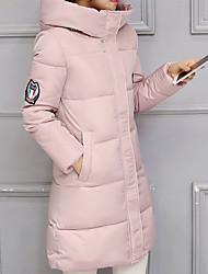 Dámské Dlouhé Dlouhý kabát Vintage / Jednoduché / Šik ven Jdeme ven / Běžné/Denní Jednobarevné-Kabát Bavlna Polypropylen Dlouhý rukáv