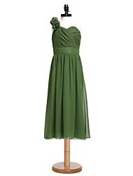 2017 Lanting bride® čaj délky šifon junior družička šaty-Line jedno rameno s křídla / stuhou / květ (y)