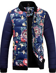 Men's Long Padded Coat,Vintage Casual/Daily Floral-Polyester Polyester Long Sleeve Blue