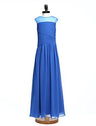 2017 Lanting Bride® Floor-length Chiffon Junior Bridesmaid Dress A-line Jewel with Side Draping