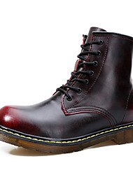 Men's Boots Spring Fall Comfort Cowhide PU Casual Flat Heel Lace-up Black Burgundy Coffee Walking