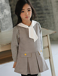 Girl Casual/Daily Solid Dress,Polyester Fall Sleeveless Long